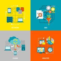 Praça de ícones plana de análise de banco de dados