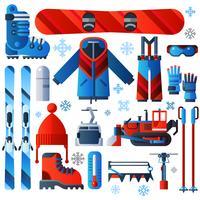 Ícones de esqui isolados cor plana