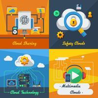 Cloud Service 2x2 Design Concept vetor