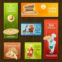 conjunto de bandeiras de pizza vetor