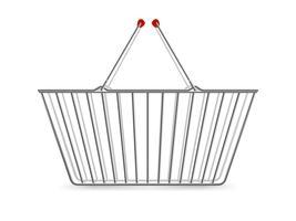 Carrinho de compras metálico vazio realista pictograma
