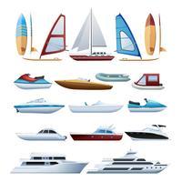 Conjunto de ícones plana barcos e windsurfer