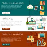 Conjunto de Banners horizontais plana de moinho têxtil vetor