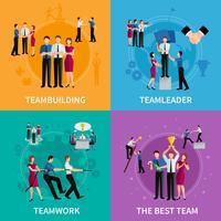 Conceito de design de trabalho em equipe 2 x 2