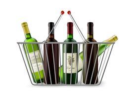Cesta de compras metálica com pictograma de vinho