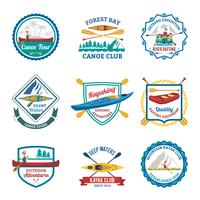 Rafting Canoeing And Kayak Emblems Set vetor