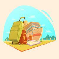 Conceito dos desenhos animados da viagem vetor