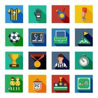 Conjunto de ícones ao quadrado liso de futebol