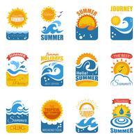 Rótulo de verão com onda e sol vetor