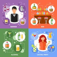 Bar Concept 4 Flat Icons Square