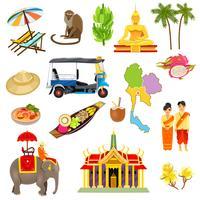 Conjunto de ícones de Tailândia vetor