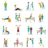 Ícones de cor de reabilitação de fisioterapia