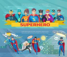 Conjunto de Banners de equipe de super-heróis vetor