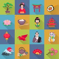 Conjunto de ícones plana de símbolos de cultura japonesa