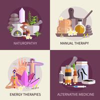 Conjunto de conceito de Design de medicina alternativa vetor