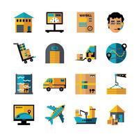 Conjunto de ícones de cores de logística vetor