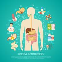 Ilustração de doenças do sistema digestivo vetor
