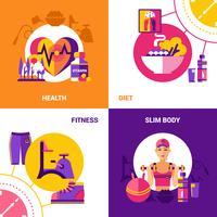 conjunto de conceito de design fitness 2x2