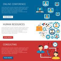 Conjunto de Banners planas de gestão de recursos humanos