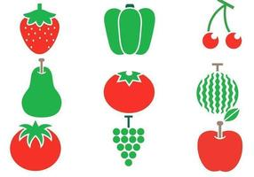 Pacote de vetores de frutas e vegetais de verão