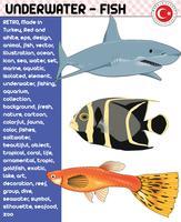 Peixe, espécies de peixes - vida subaquática, vetor eps