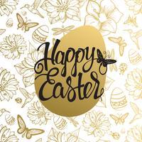Sinal do ovo da páscoa no fundo sem emenda do ouro das flores, do ovo, das borboletas e das libélulas.