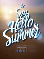 Olá inscrição de cartaz de verão em uma imagem de paisagem de fundo.