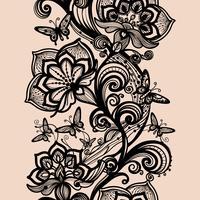 Padrão de renda sem costura abstrata com flores e borboletas vetor