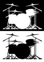 Drum set silhueta isolado vector ilustração em preto e branco