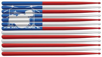 Bandeira do baterista com conjunto de tambores e baquetas isolado ilustração vetorial