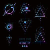Formas de geometria sagrada, formas de linhas, logotipo vetor