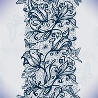 Padrão de renda sem costura abstrata com flores e borboletas. vetor