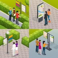 Mapa de rua de turistas 4 ícones