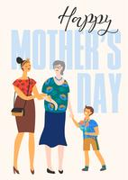 Feliz Dia das Mães. Ilustração vetorial com mulheres e criança.