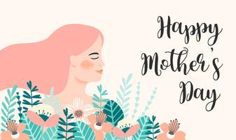 Feliz Dia das Mães. Ilustração vetorial com mulher e flores.