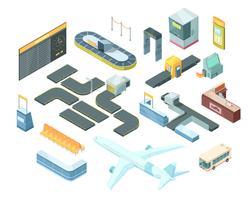 Conjunto isométrico de aeroporto vetor