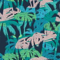 Sem costura padrão exótico com plantas tropicais. Vetor de fundo.