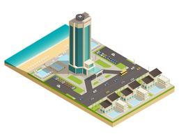 Composição isométrica do edifício do hotel de luxo