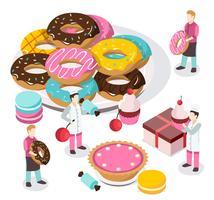 Composição isométrica de loja de doces vetor
