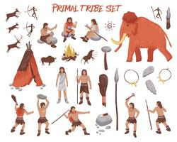 Conjunto de ícones de pessoas Tribal Primal vetor