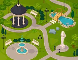 Composição de Design isométrica de paisagem de parque vetor