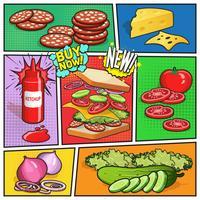 Página de quadrinhos de publicidade de sanduíche vetor