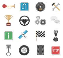 Conjunto de ícones de carros de corrida