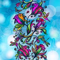 Teste padrão sem emenda laçado do vetor abstrato da cor de flores e de borboletas dos elementos no fundo borrado com elementos do bokeh.