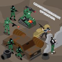 Composição isométrica de operação contra-terrorista vetor