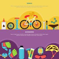 Conjunto de Banners de bicicleta vetor