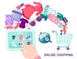 Conceito de tela sensível ao toque de compras on-line vetor