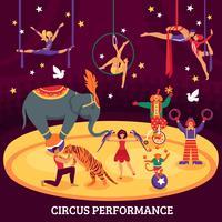 Composição plana de desempenho de circo vetor