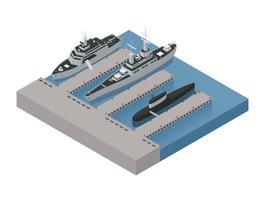 Composição isométrica de barcos militares vetor