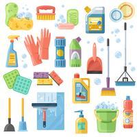 Conjunto de ícones de limpeza SuppliesTools Flat Icons vetor